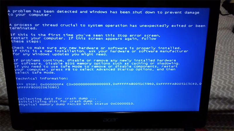 schermo blu
